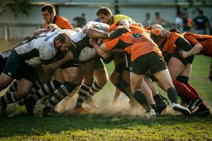 Stock image of rugby players